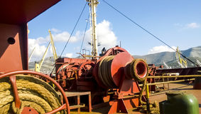 Mechanisms of tension control ropes. Winches. Equipment on the d Stock Photography