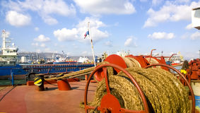 Mechanisms of tension control ropes. Winches. Equipment on the d Stock Images