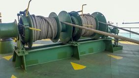 Mechanisms of tension control ropes. Winches. Equipment on the d Royalty Free Stock Image
