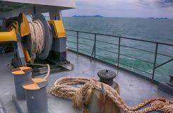 Mechanismus an der Fährenplattform Stockfoto