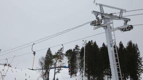 Mechanismus des Skiaufzugs stock video