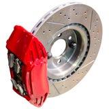 Mechanismus von AutomobilScheibenbremsen: zusammengebauter Tasterzirkel mit Scheibe Stockbild