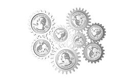 Mechanizm with dollar coins Royalty Free Stock Images