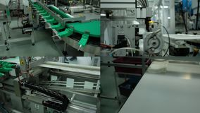 Mechatronics Geautomatiseerde Productie in Fabriek Industriële robot 4 in 1 stock video