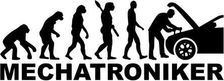 Mechatronics inżyniera ewolucja z niemieckim stanowiskiem ilustracji
