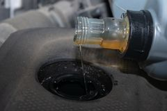 Refill engine oil in the car stock photo
