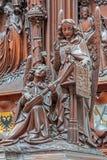 Mechelen - высекаенный пресвитерий формы ангелов собора St. Rumbold стоковые изображения