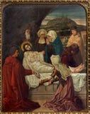Mechelen - захоронение Иисуса. Перекрестный цикл пути от. цента 19. в церков n-Hanswijkbasiliek Onze-Lieve-Vrouw-va стоковые фотографии rf