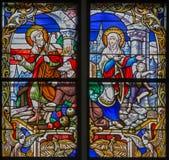 Mechelen - находить потерянного Иисуса от специализированной части окна собора St. Rumbold стоковое фото rf
