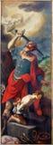 Mechelen - доказательство Авраама. Левая панель триптиха Дэвида и Голиафа De Sayvede Oude от года 1624 в соборе St. Rumbold стоковое фото rf