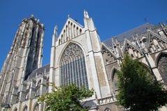 Mechelen - собор St. Rumbold от юга стоковая фотография