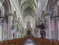 Mechelen - церковь наша дама через de Dyle стоковые изображения rf