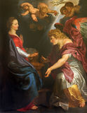 Mechelen - The Annunciation by Peter Paul Rubens   in st. Johns church or Janskerk. Royalty Free Stock Image
