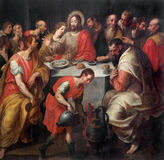 Mechelen - Baroque paint of The Last supper of Christ in  St. Rumbold's cathedral Royalty Free Stock Photography