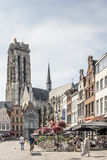MECHELEN, BELGIUM, - AUGUST 13, 2015: Market square and cathedral Stock Images