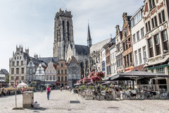 MECHELEN, BELGIUM, - AUGUST 13, 2015: Market square and cathedral Stock Photos