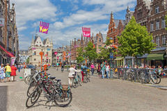 MECHELEN, BELGIUM - JUNE 14, 2014:  IJzerenleen street or square with the gothic building of Groot Begijnhof Stock Photography