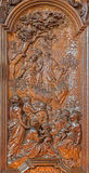 Mechelen - The carved Sermon of Jesus on the Mount scene by Ferdinand Wijnants in st. Johns church or Janskerk Stock Photos