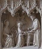 Mechelen - den neogotic skulpturala gruppen av den heliga familjen i kyrkan eller Katharinakerk för arbetsrumst Katharine Royaltyfri Fotografi