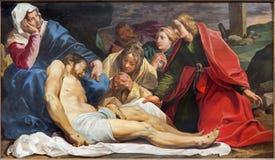 Mechelen - deposición de la cruz de Abraham Janssen van Nuyssen (1615) en la iglesia de la iglesia de St Johns (Janskerk) Imagen de archivo libre de regalías