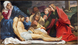 Mechelen - Deposition of the cross by Abraham Janssen van Nuyssen (1615) in church of st. Johns church (Janskerk). Royalty Free Stock Image