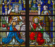 Mechelen - Deposition of the cross scene from windowpane of St. Rumbold's cathedral Stock Photos