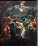 Mechelen - el panel central del Baptistm del tríptico de Cristo en iglesia nuestra señora a través de Dyle Fotos de archivo