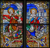 Mechelen - Finding of lost Jesus from windowpane of St. Rumbold's cathedral Royalty Free Stock Photo