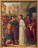 Mechelen - Jésus pour Pilate. Cycle croisé de manière. du cent 19. dans l'église du n-Hanswijkbasiliek Onze-Lieve-Vrouw-va Images libres de droits