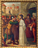 Mechelen - Jesus för Pilate. Arg vägcirkulering från. cent 19. i kyrka för n-Hanswijkbasiliek Onze-Lieve-Vrouw-va Royaltyfria Bilder
