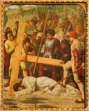 Mechelen - Jesus fall under cross. Cross way cycle from 19. cent. in Onze-Lieve-Vrouw-va n-Hanswijkbasiliek church Royalty Free Stock Images