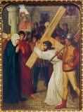Mechelen - Jesus meets his mother. Part the Cross way cycle from 19. cent. in Onze-Lieve-Vrouw-va n-Hanswijkbasiliek church Royalty Free Stock Photos