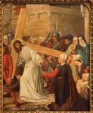 Mechelen - Jesus meets the women of Jerusalem. Part the Cross way cycle from 19. cent. in Onze-Lieve-Vrouw-va n-Hanswijkbasiliek c Royalty Free Stock Photo