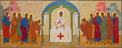 Mechelen - l'icône orthodoxe de la communion l'église ou Katharinakerk de St Katharine d'Apsotle Photo stock