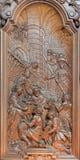 Mechelen - la talla de la escena de la natividad de Ferdinand Wijnants en la iglesia de St Johns o Janskerk de comienza de 20 cen Imágenes de archivo libres de regalías