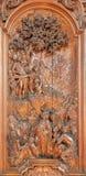 Mechelen - la talla del sermón de San Juan Bautista la escena de Ferdinand Wijnants en la iglesia de St Johns Imágenes de archivo libres de regalías