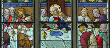 Mechelen - Last supper scene from windowpane in St. Rumbold's cathedral Royalty Free Stock Images