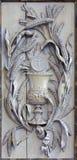 Mechelen - le soulagement découpé du chapeau comme symbole de l'eucharistie et du corps de Jesus Christ dans l'église notre Madam Image stock