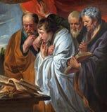 Mechelen - los cuatro evangelistas por la escuela de Joraens (cca1620) La pintura original del amo está en el museo del Louvre Fotografía de archivo