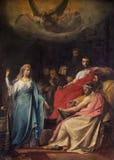 Mechelen - målarfärg av predikanen av st Katharine av Frans Josef Navez (1818) i den St Johns kyrkan eller Janskerk Royaltyfri Foto