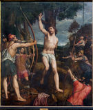 Mechelen - Martyrdom of st. Sebastian. Paint by painter  Michael van Coxie from year 1499 - 1509 in St. Rumbold's cathedral Stock Images