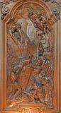 Mechelen - martyre de St John l'évangéliste dans une cuve d'huile de ébullition par Ferdinand Wijnants dans l'église ou le Janske image libre de droits