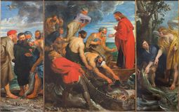 Mechelen - The Miracle fishing triptych (1618) by Peter Paul Rubens in church Our Lady across de Dyle. Royalty Free Stock Image