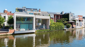 Mechelen - Modern family house on waterfront of canal. Royalty Free Stock Photo