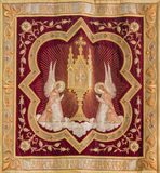 Mechelen - Needlework of the Eucharist adoration of angels from Onze-Lieve-Vrouw-va n-Hanswijkbasiliek church. Royalty Free Stock Photography