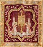 Mechelen - Needlework of the Eucharist adoration of angels from Onze-Lieve-Vrouw-va n-Hanswijkbasiliek church. MECHELEN, BELGIUM - SEPTEMBER 4,2013 : Needlework royalty free stock photography