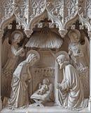 Mechelen - o gorup escultural neogotic da igreja ou do Katharinakerk do st Katharine da natividade Foto de Stock
