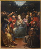 Mechelen - The paint op Pentecost scene by unknown painter  in st. Johns church or Janskerk. Royalty Free Stock Photos