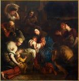 Mechelen - peinture de l'adoration du Shepherts de l'année 1669 par Erasmu Quellinus II de la cathédrale de St Rumbold Photo stock