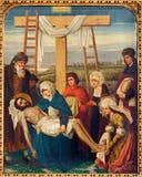 Mechelen - peinture de Pieta en tant qu'élément du cycle croisé de manière. du cent 19. dans l'église du n-Hanswijkbasiliek Onze-L Photos libres de droits